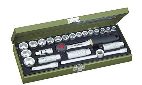 PROXXON Steckschlüsselsatz, Kompaktsatz mit 3/8'-Umschaltratsche, 24-teiliges Werkzeug-Set mit Stahlkasten, 23110