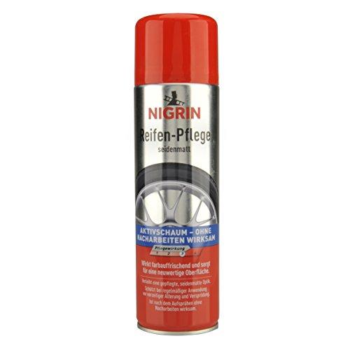 NIGRIN Reifenpflege Schaum-Reiniger, 500 ml, schützt Autoreifen vor UV-Strahlen, Schmutz und Salz, beugt vorzeitiger Alterung und Versprödung der Reifen vor