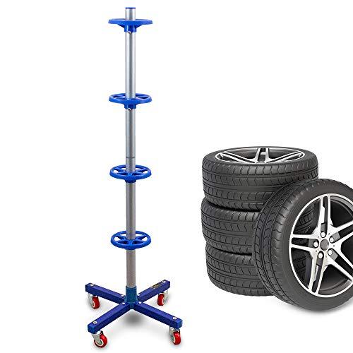 BITUXX Stabiler fahrbarer Felgenbaum Reifenwagen Felgenständer Reifenständer Radwagen bis 225mm Blau