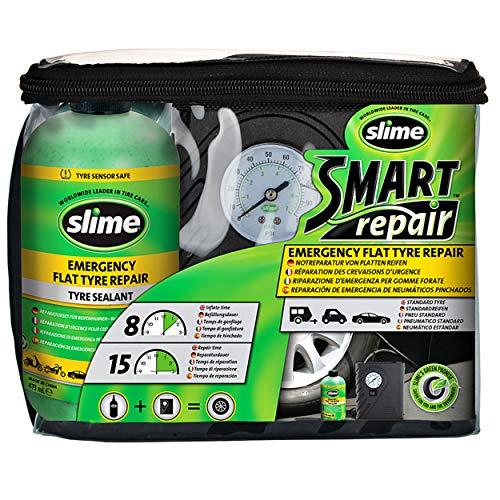 Slime CRK0305-IN Flat Tyre Puncture Repair, Smart Repair, Emergency Kit for Car Tyres, Includes Sealant and Tyre Inflator Pump, Suitable for Cars and Other Highway Vehicles, 15 Min Fix