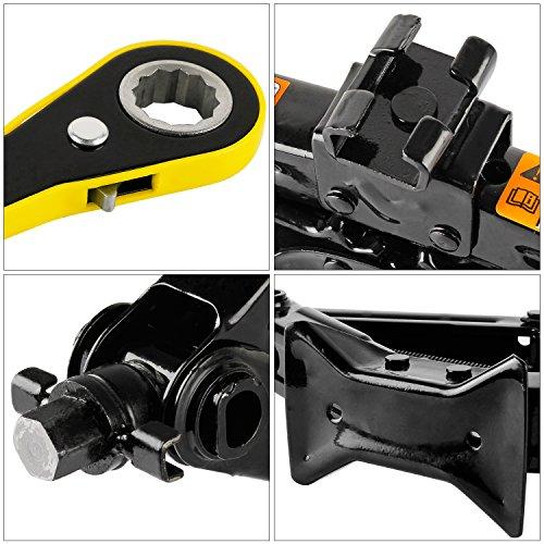 YAOBLUESEA Wagenheber Scherenwagenheber Scheren Autoheber Werkzeug Scherenlift Schwarz (Schwarz 2T (Schraubenschlüssel))