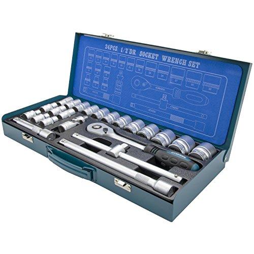 HYUNDAI Steckschlüsselset K24 (1/2' Zoll Steckschlüsselsatz, 24-teilig, 72-Zahn Umschaltknarre, SUPER LOCK Steckschlüsseln, Nusskasten Set, Ratschenset, Knarrenkasten, Werkzeugkoffer, Werkzeugset)