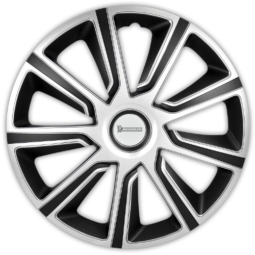 MICHELIN 92012 Radkappen 13 Zoll Universal Radzierblenden Louise 4er Set Fürs Auto ABS Kunststoff | Schwarz/Silber, Set of 4